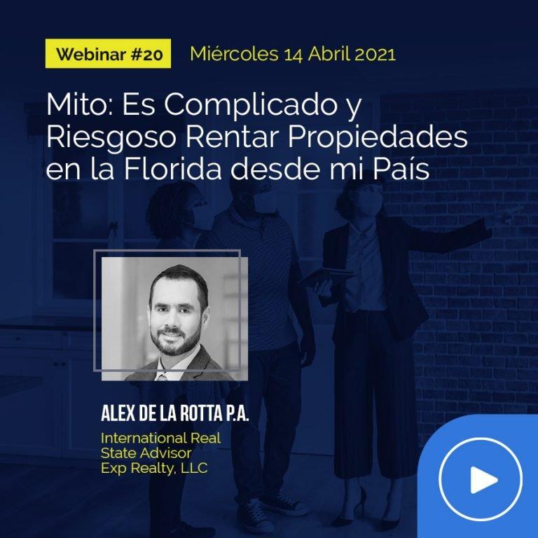 Webinar #20 | Alex De la Rotta P.A.